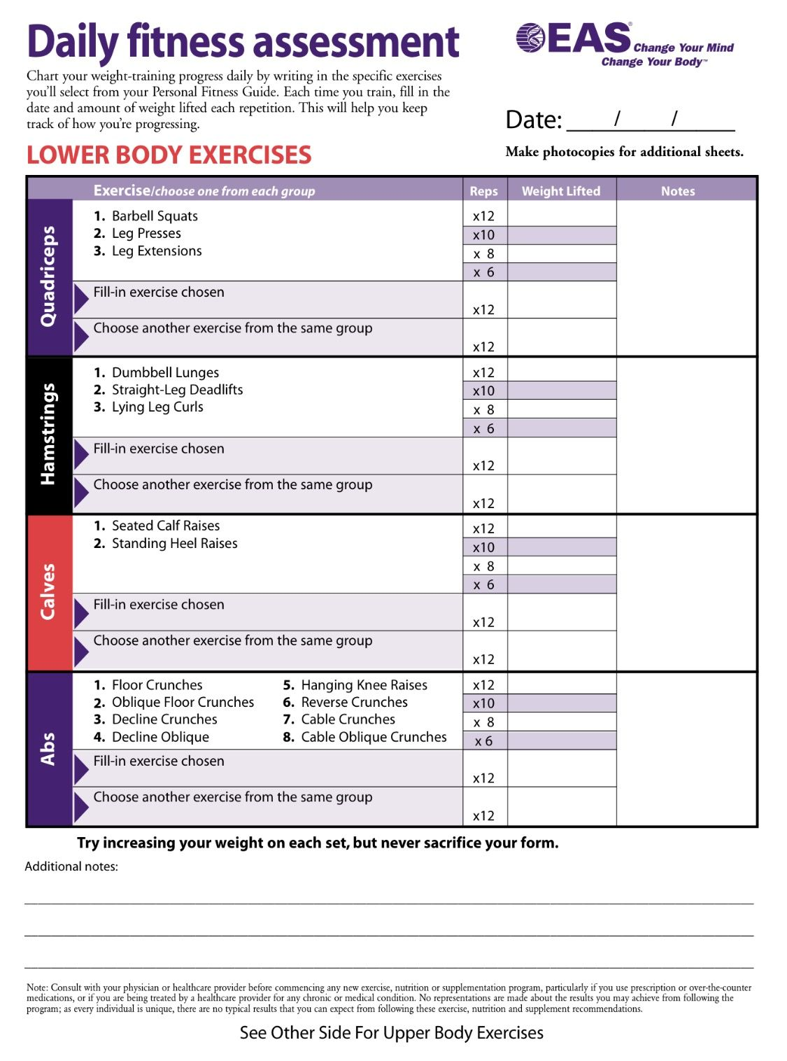 body for life exercises Eas Body For Life Workout Sheets | Yourviewsite.co