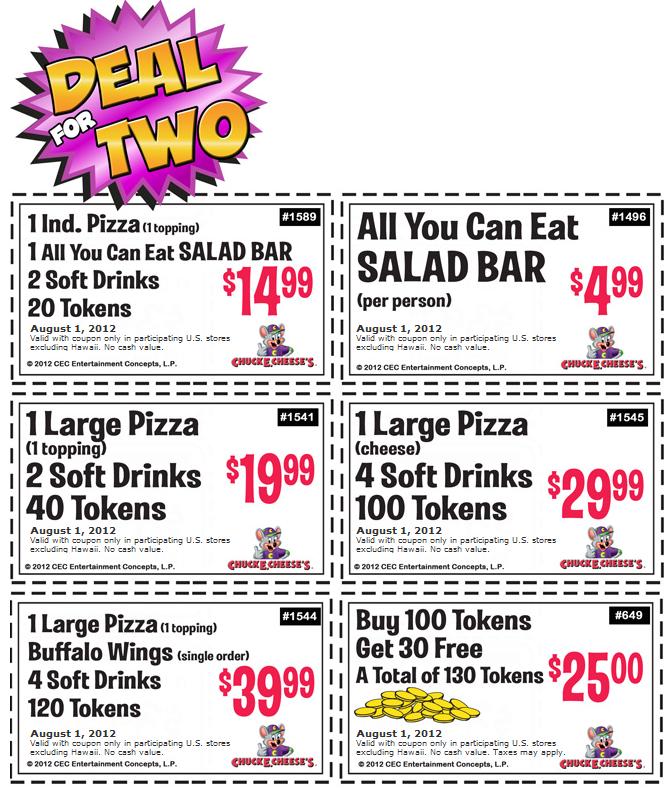 130 Game Tokens For 25 Bucks And More At Chuck E Cheese Pizza Chuck E Cheese Free Printable Coupons Printable Coupons