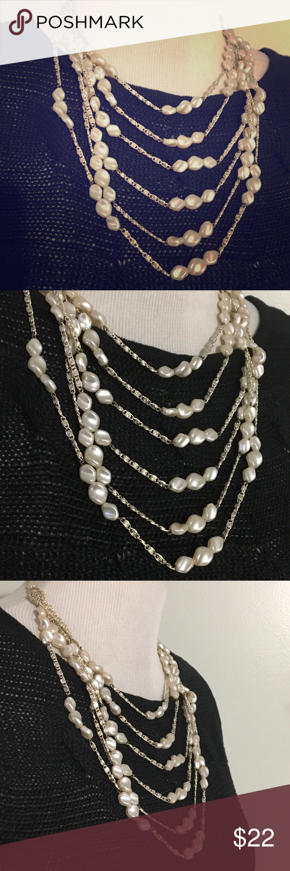 ELEGANT PEARLS NECKLACE Gorgeous and exquisite necklace , excellent condition, silver chain , it's very well made M.WESTGENAR Jewelry Necklaces