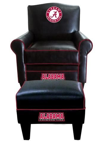 University of Alabama Leather Game Time Chair and Ottoman Show