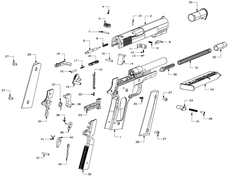 1911 22 Parts List Technical Illustration Drafting Tools Piping Design