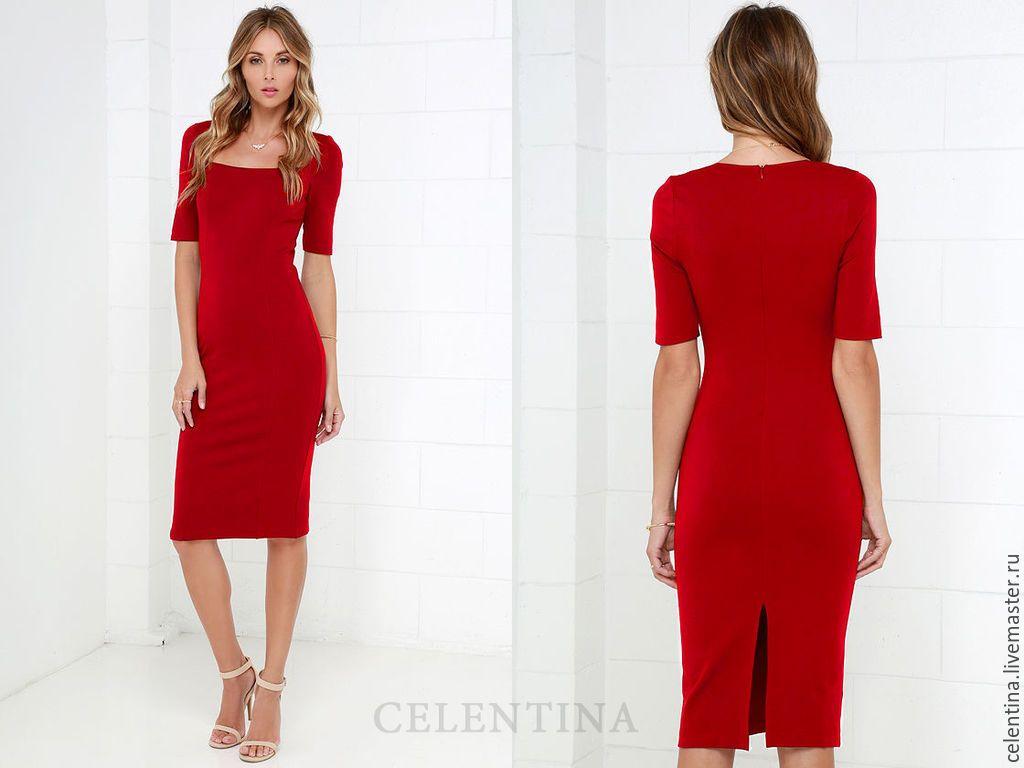 Красное платье футляр купить москва