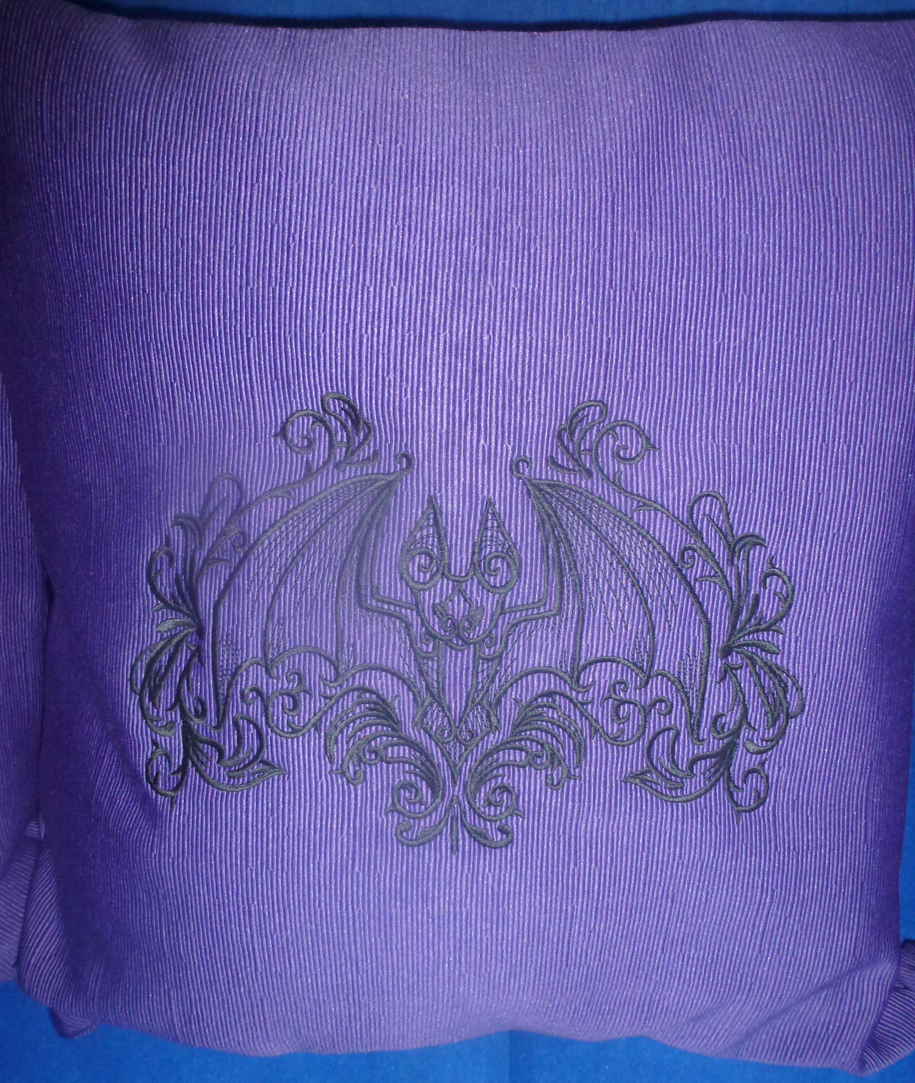 Goth bat cushion cover home machine embroidery pattern from urban