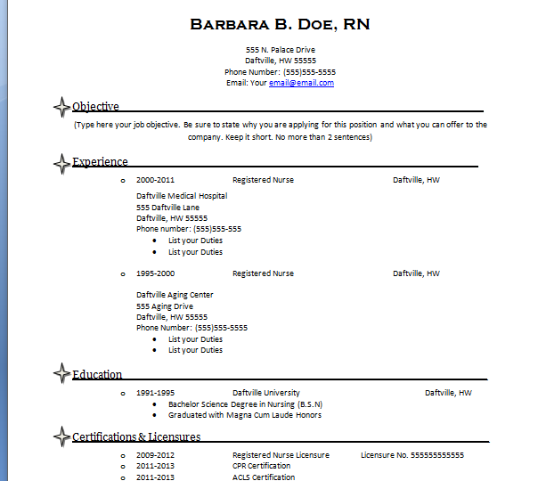Medical Surgical Nurse Resume Sample: Nursing Resume Template