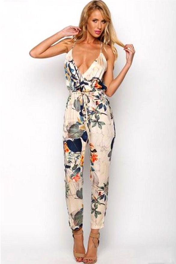 87c35cb305b FANALA Floral Print Rompers Womens Jumpsuit Sleeveless 2017 Summer Plus  Size Spaghetti Strap Deep V Beach Overalls Playsuit