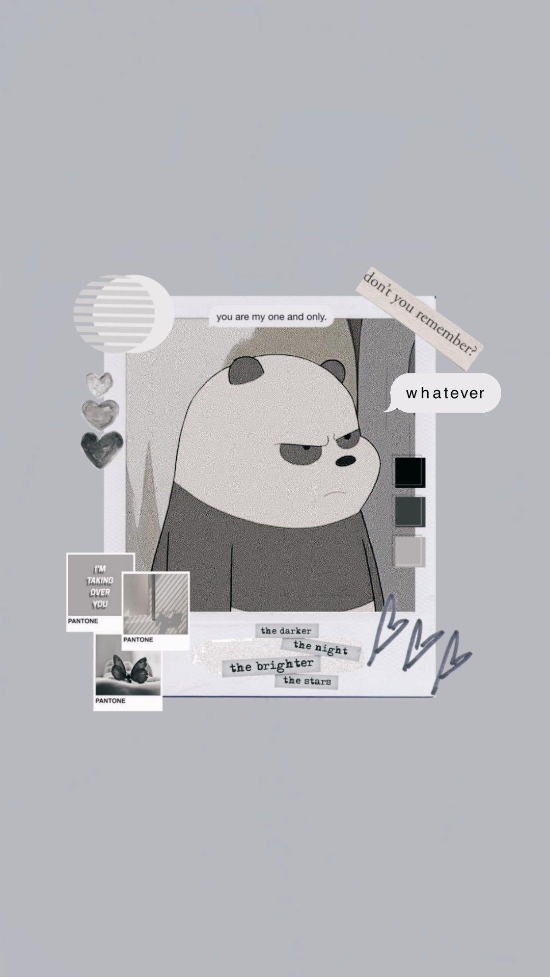 We Are Bears Panda Wallpaper Grey Seni Kartun Lukisan Keluarga Kartu Lucu
