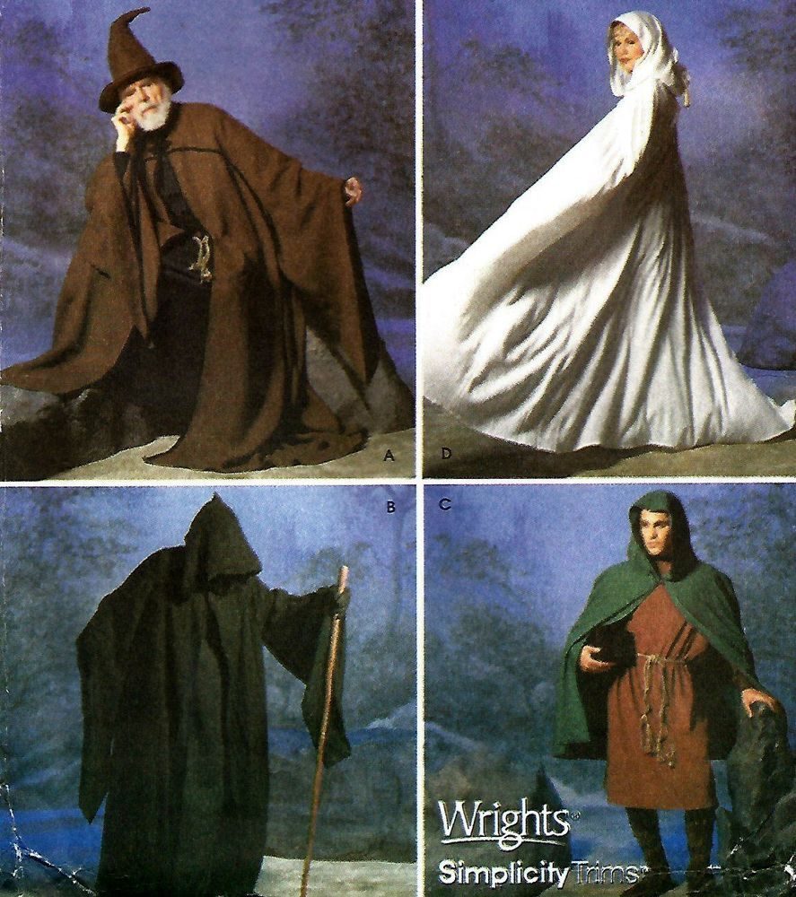Uncut renaissance costume medieval wizard cape cloak, robe & hat ...