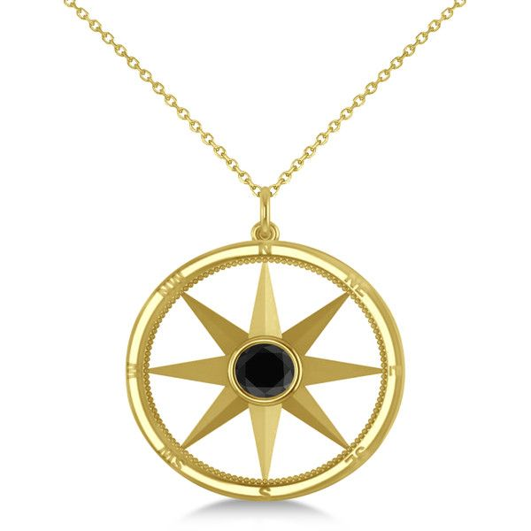 Allurez Black Diamond Compass Pendant Fashion Necklace 14k Yellow
