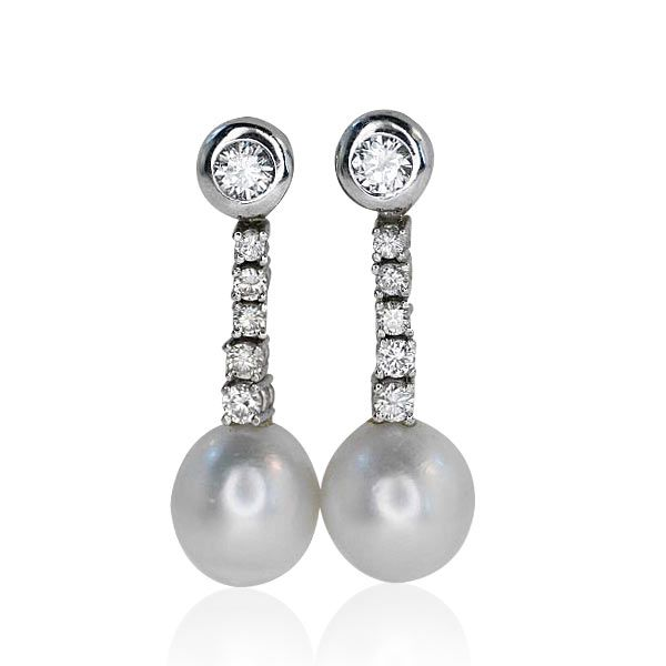 Diamonds #Earrings with Pearls  Diamanten Ohrringe mit Südsee-Zucht-Perlen 10mm, 0,40ct Diamanten in Weissgold