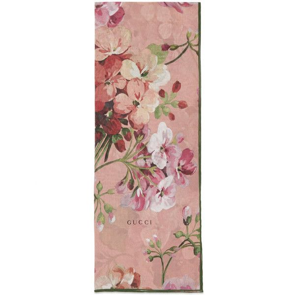 Gucci Blooms Print Silk Stole (2.050 RON) ❤ liked on Polyvore featuring accessories, scarves, silks & scarves, women, gucci scarves, pink scarves, floral print scarves, pink silk scarves and gucci shawl