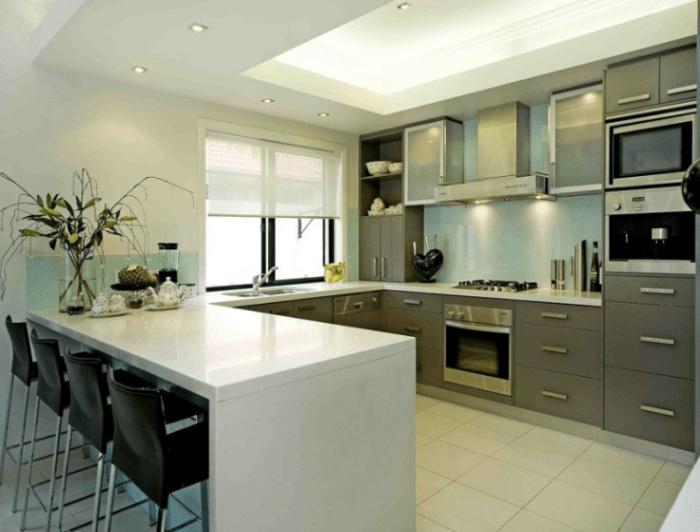 U Shaped Kitchen Designs With Breakfast Bar Modern U Shaped