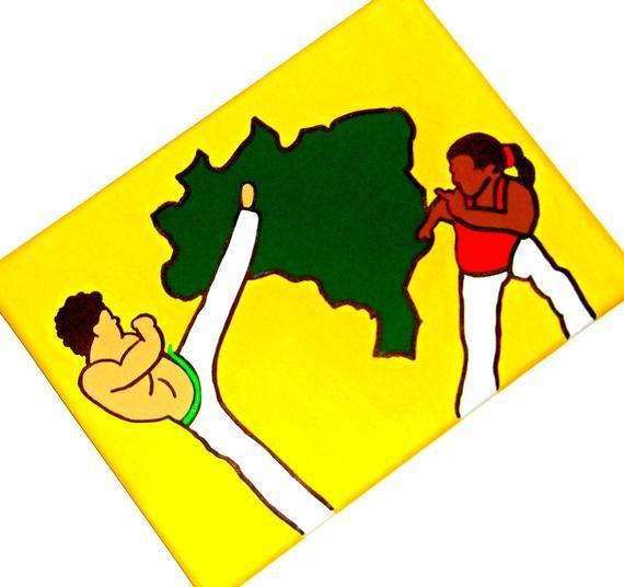 Capoeira Painting, Capoeira Art, Martial Arts Decor, Brazilian Art, Capoeira Gift, Brazilian Folk Ar