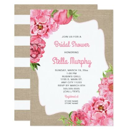 Trendy pink floral rustic canvas bridal shower invitation trendy pink floral rustic canvas bridal shower card wedding invitations cards custom invitation card design marriage party stopboris Image collections