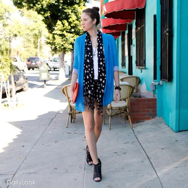 Buy this look at: http://www.dailylook.com/c/2012-02-04-sheer-blue-blazer-star-scarf/1/270.html