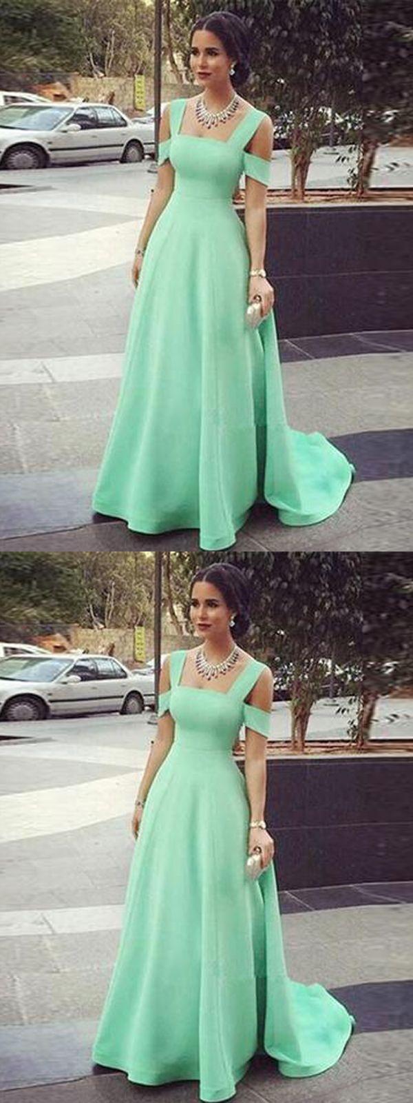 Long prom dress aline simple straps green cheap prom dress vb
