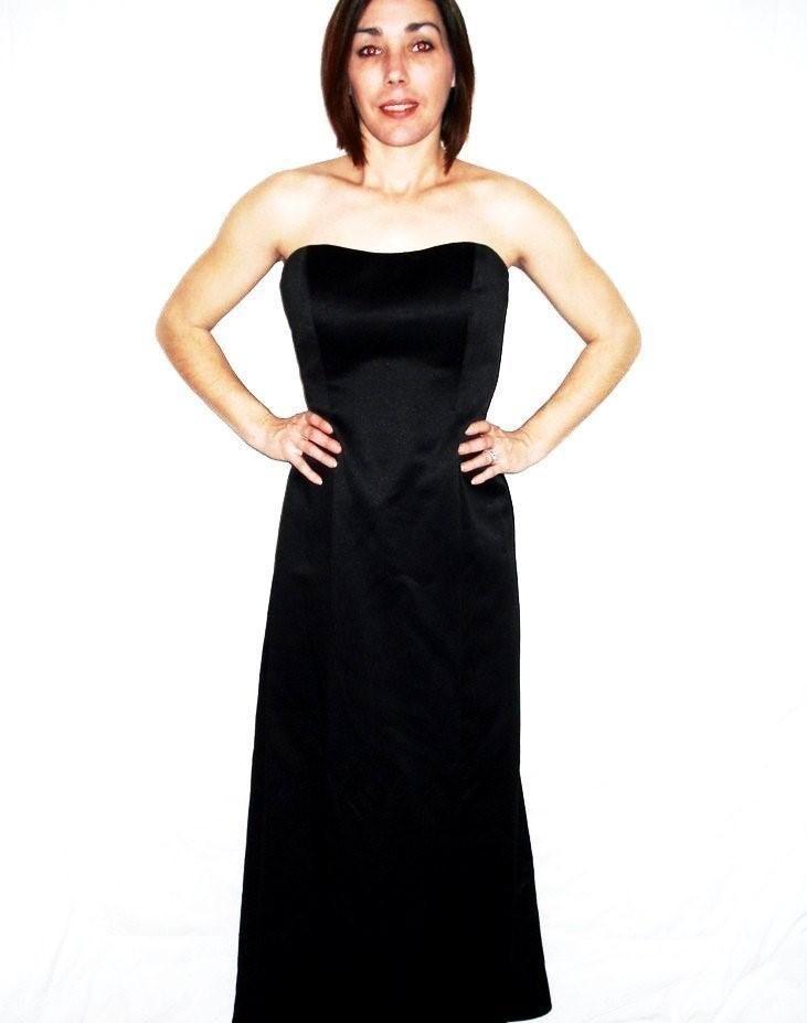Davids bridal black strapless full length dress dresses