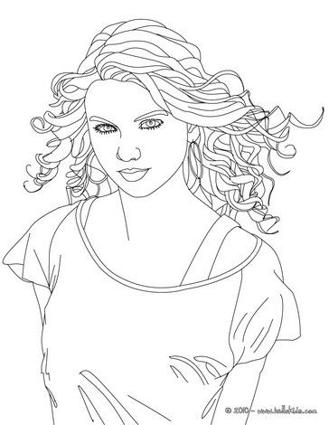 Beautiful Taylor Swift close up in coloring sheet. More Taylor Swift ...