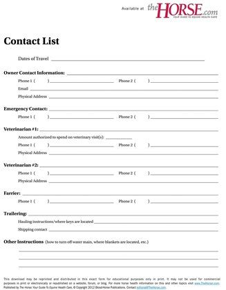 Use this handy form to leave your horse and house sitters all the - emergency contact forms