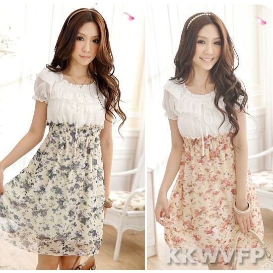 New Womens Short Sleeve Floral Print Tunic Casual Chiffon Summer Dress Sundress