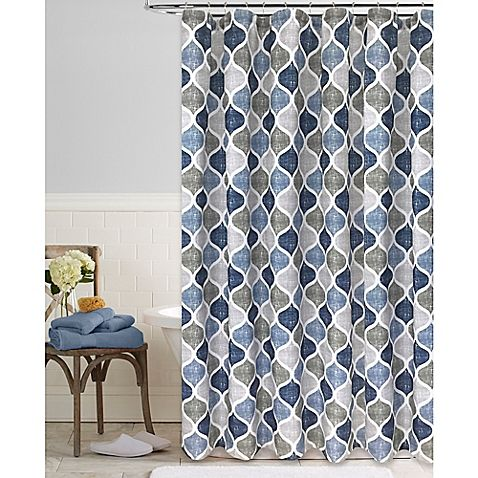 The Priya Shower Curtain Puts A Modern Twist On Classic Ogee Pattern Geometric Print Is Featured In White Against Striped Background Of Blues And
