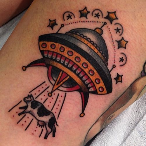 Image result for ufo tattoo old school