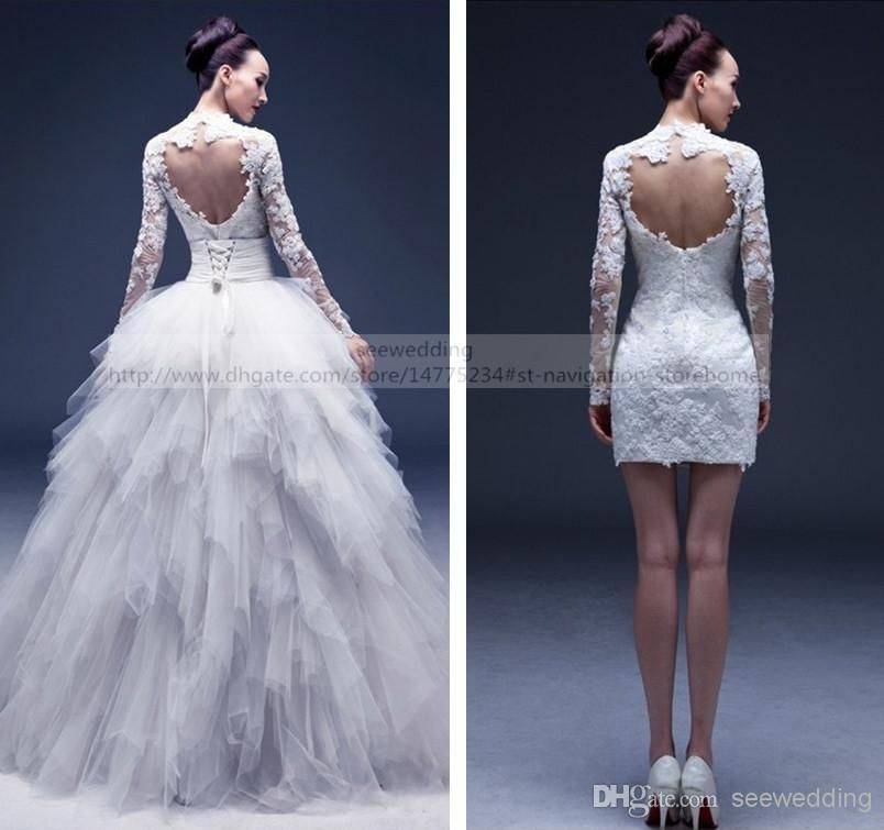 Discount Multi Way Detachable Wedding Dresses Lace Appliques High ... 171f15582642