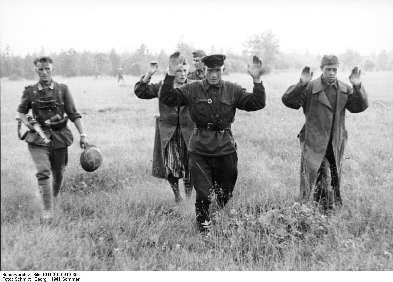 Soviet prisoners by the Germans. Eastern Front. Summer 1941