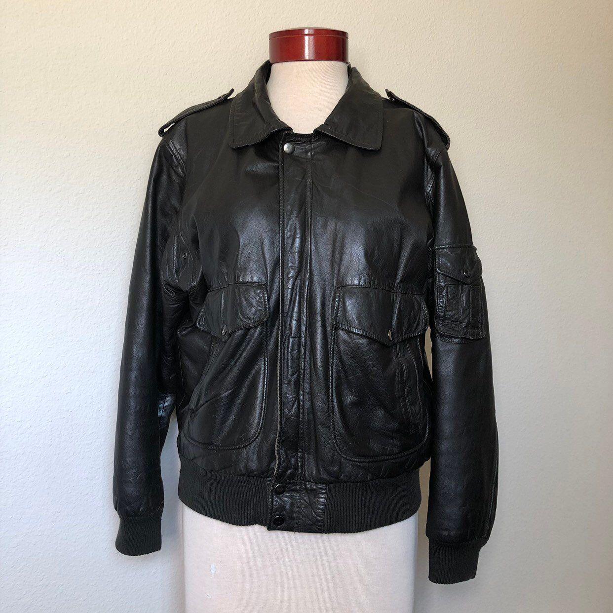 Vintage 80/'s Black Leather High Collar Bomber Jacket