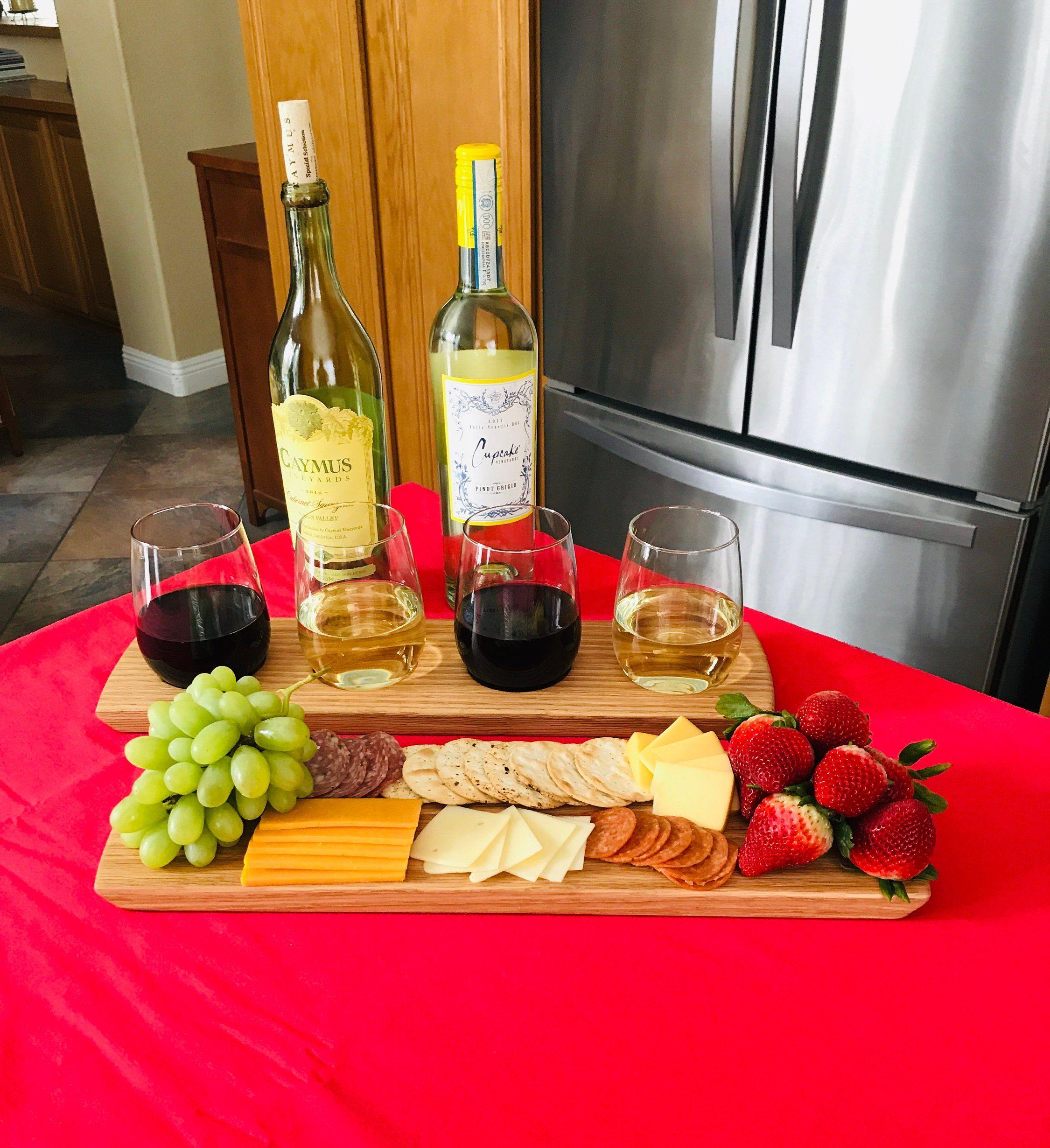 Wine Flight Charcuterie Board Set Solid Oak 4 Stemless Etsy In 2020 Clean Eating Snacks Food Cheese Platters