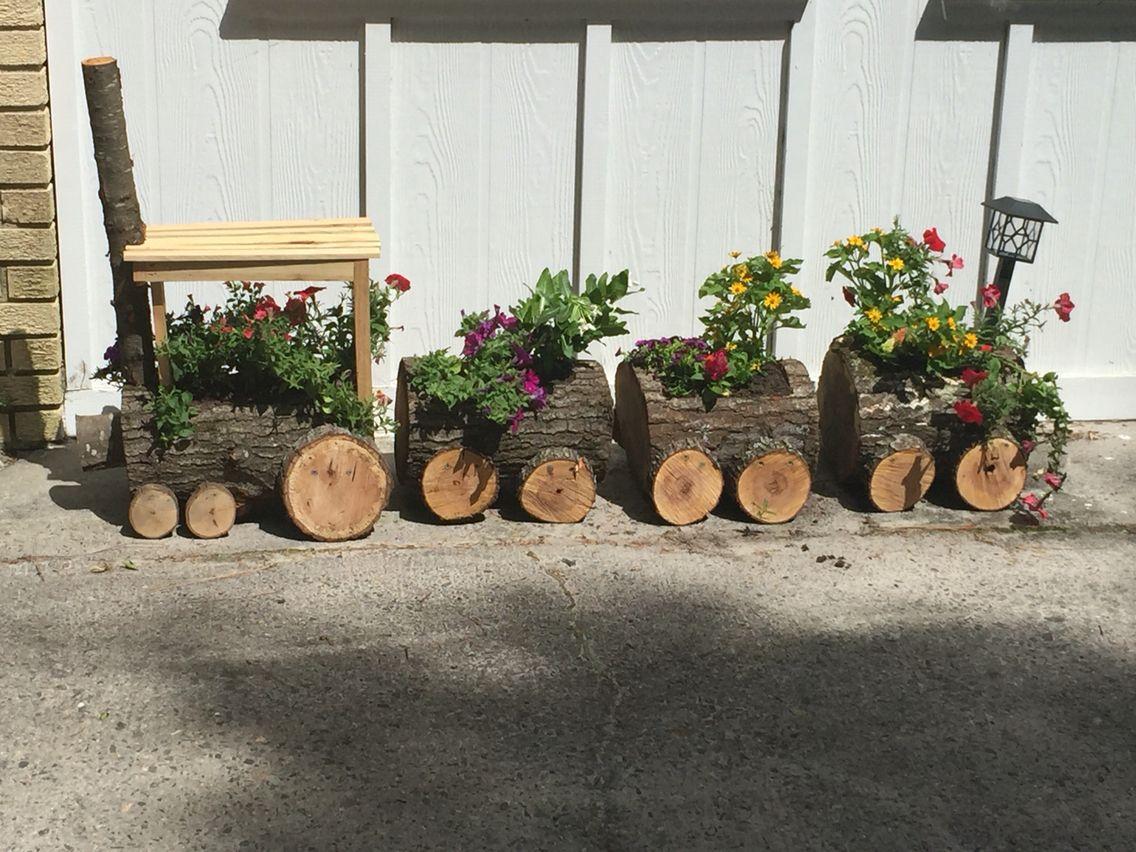 Log Train Planter Planters Log Planter Planters Garden