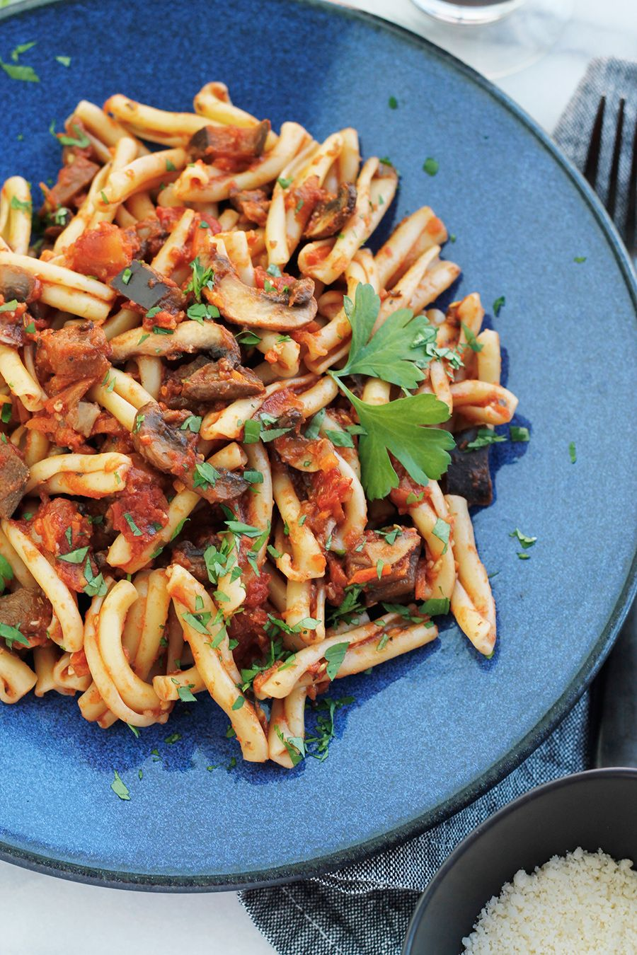Vegan Eggplant Mushroom Bolognese With Casarecce A Healthy Hearty And Bold With Flavor Pasta Dish Vegan Eggplant Vegan Pasta Recipes Mushroom Recipes Vegan