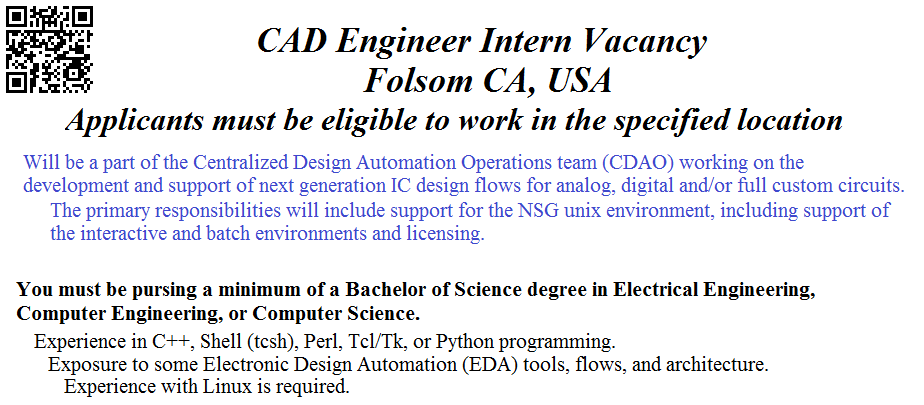 Ready to begin your career? CAD Engineer Intern job in Folsom CA ...