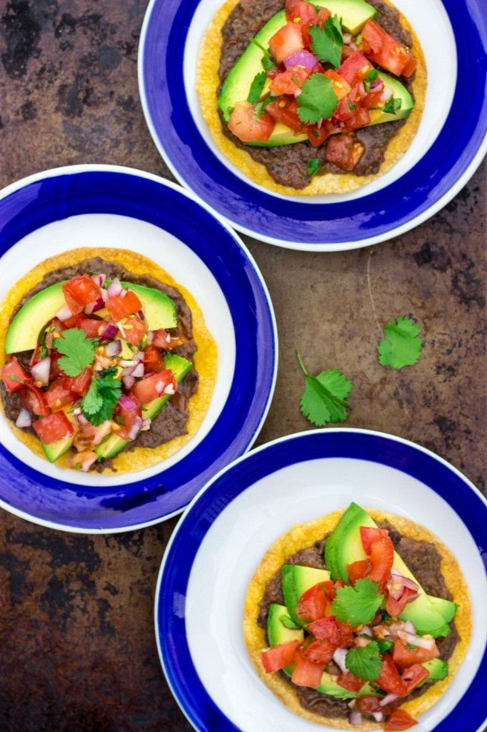 Tostadas With Homemade Refried Beans Pico De Gallo And Avocado