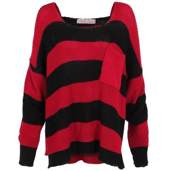 Womens Chunky Knit Boyfriend Striped Oversized Baggy Jumper Top ...