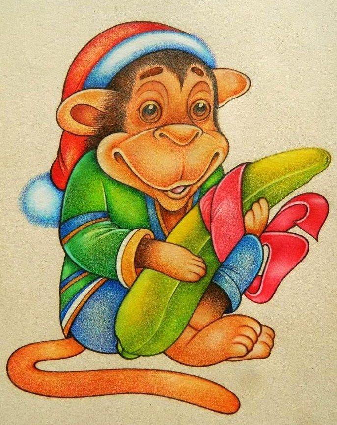 День рождения, открытка с обезьяной