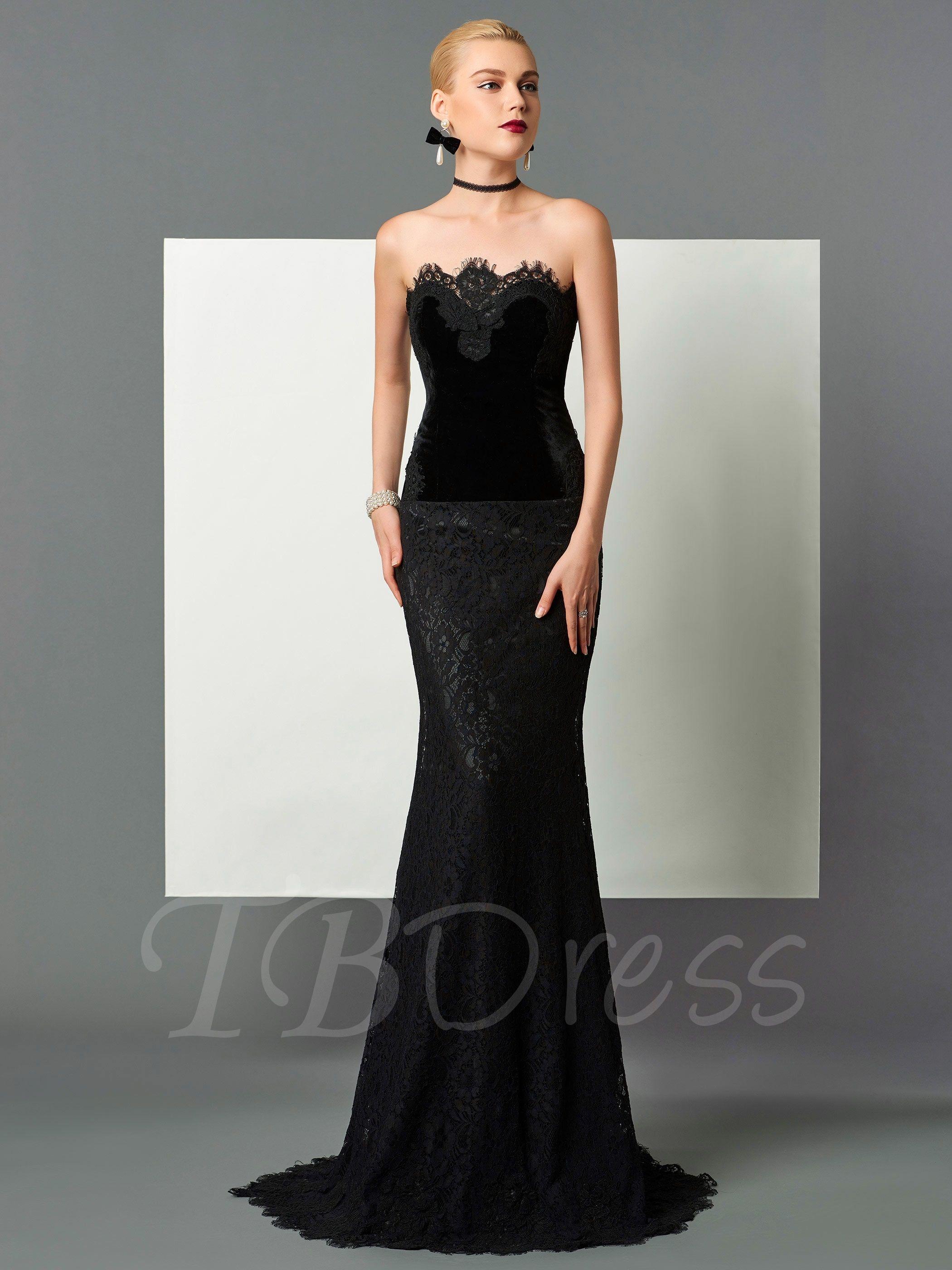 Column Velvet Strapless Lace Sweep Train Evening Dress ...