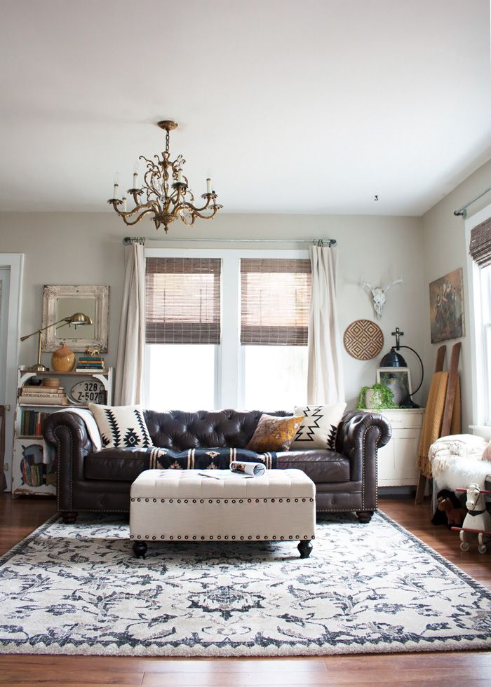 Living Room Redo With A New Leather Sofa Home Boho