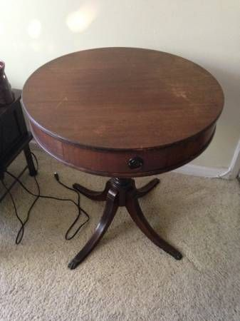 1940\'s Vintage Drum Table with claw feet and one drawer ...