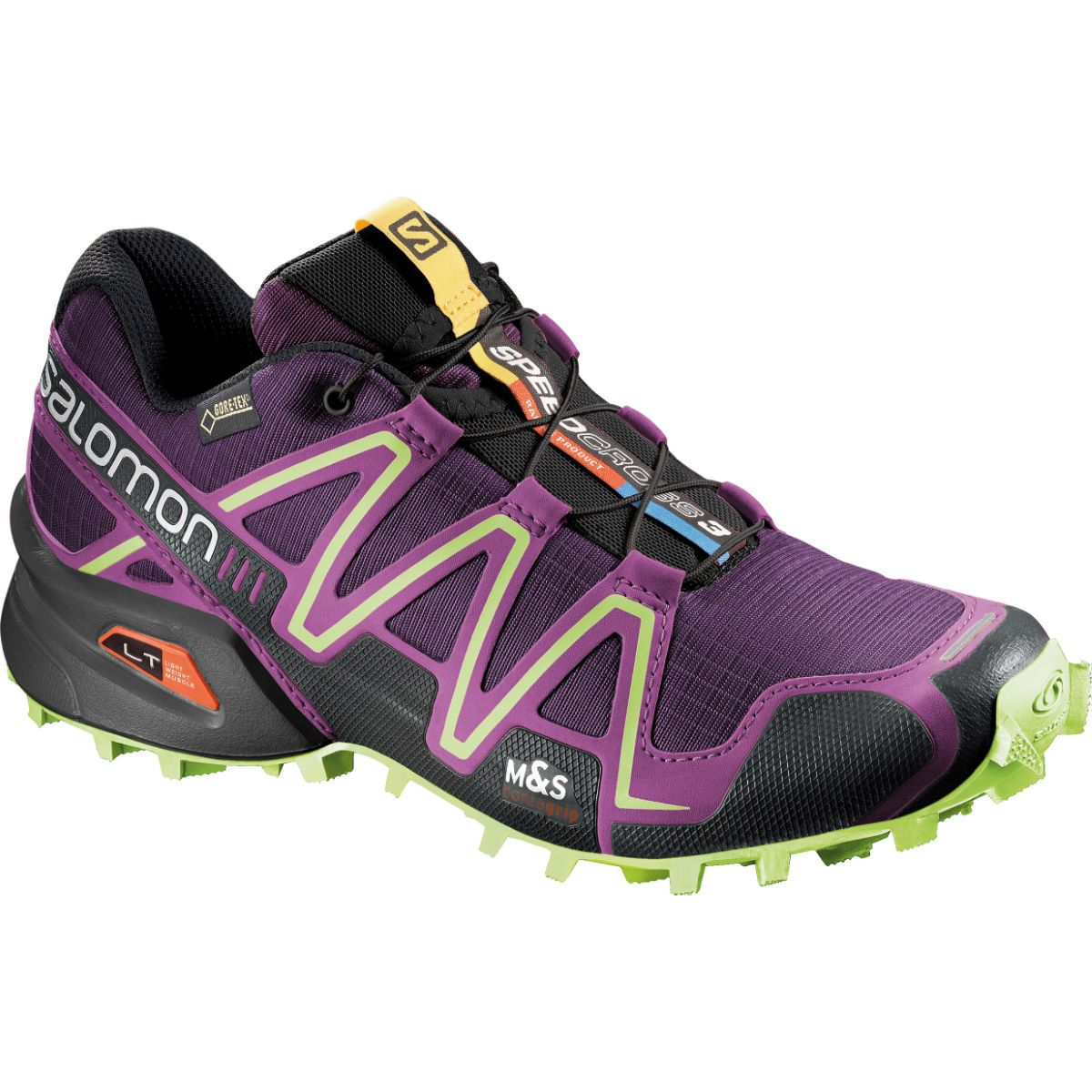 Salomon Speedcross 3 GTX Lady Purple/Black/Yellow Trail Running Shoessalomon xasalomon skis Colorful And Fashion Forward