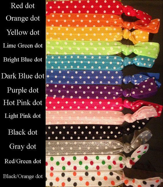 4 pack of hair ties.Solid Colors Polka Dots by rocketcityrookie, $6.00
