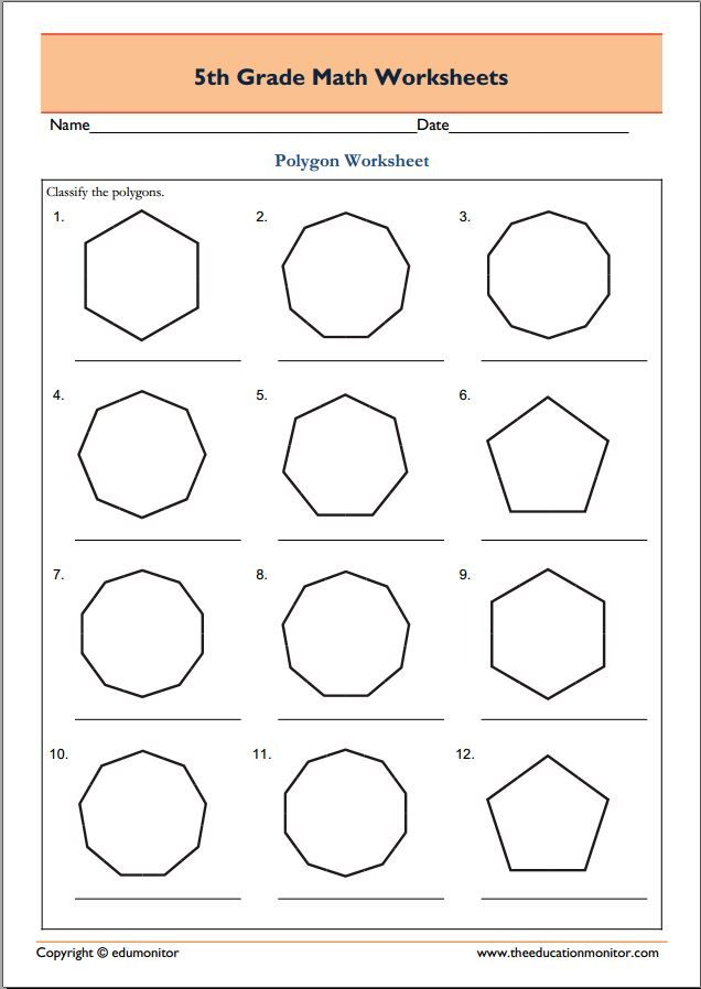 5th grade geometry math worksheets Polygons Fifth