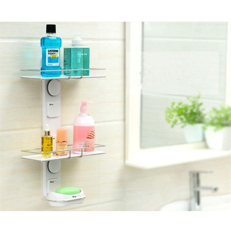 Bathroom Storage Shelf Suction Cup Stainless Steel Bathroom Storage ...