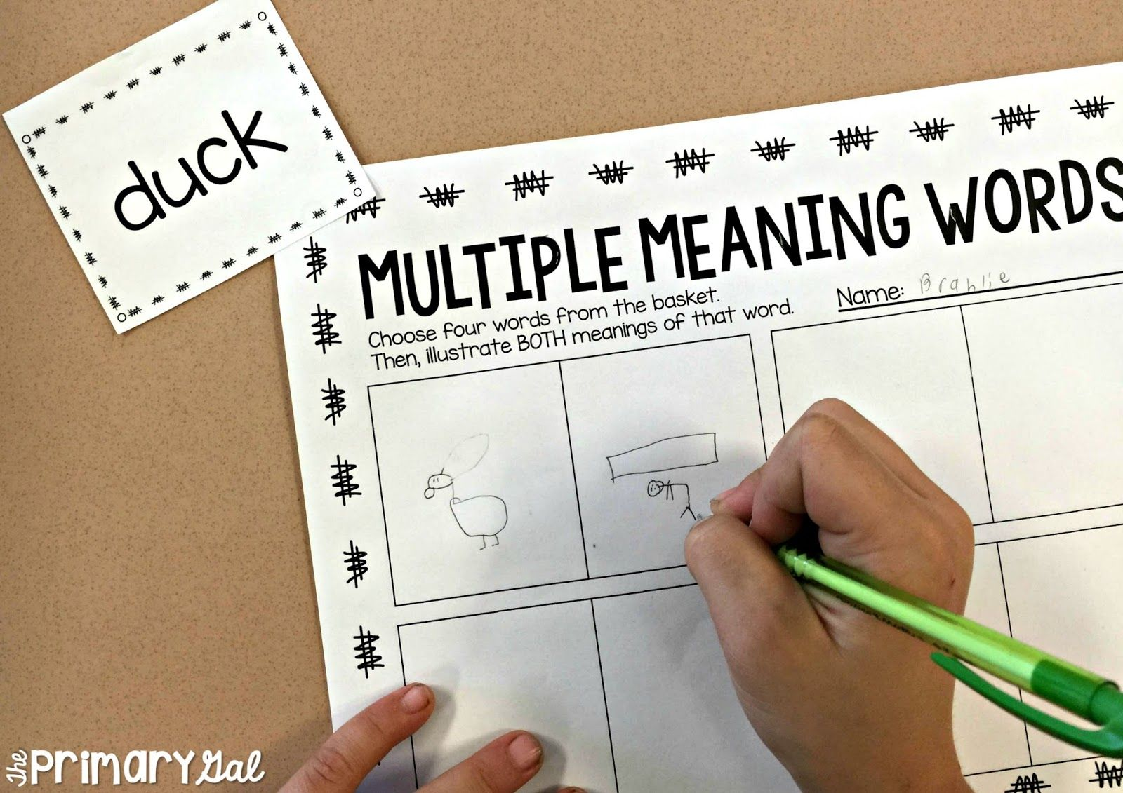 Teaching Multiple Meaning Words A Free Activity