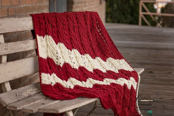 Crochet Pattern Classic Cable Textured Chevron Afghan Great $4.95 ...