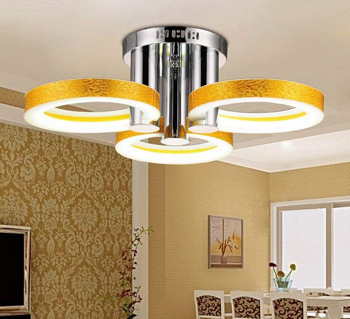 Qligha Moderne Led Deckenleuchte Einfache Acryl Runde Hohl Wohnzimmer Dekoration Lichter Schlafzimmer Balkon Beleuchtung Gold 3heads Whitelight Amazon De Bele