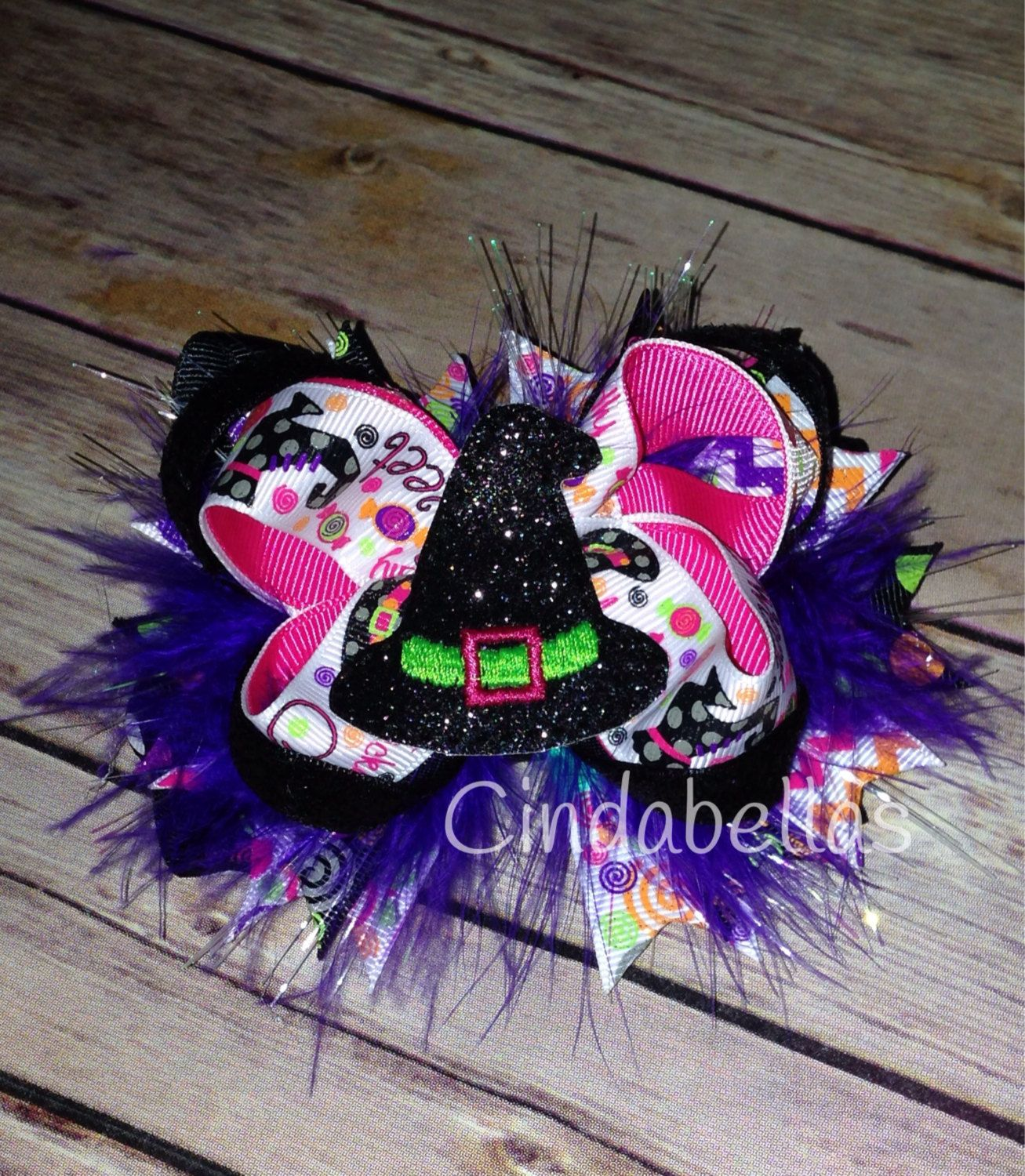 Witch's Hat Halloween Fiber Optic Hair Bow by CindabellasBoutique on Etsy