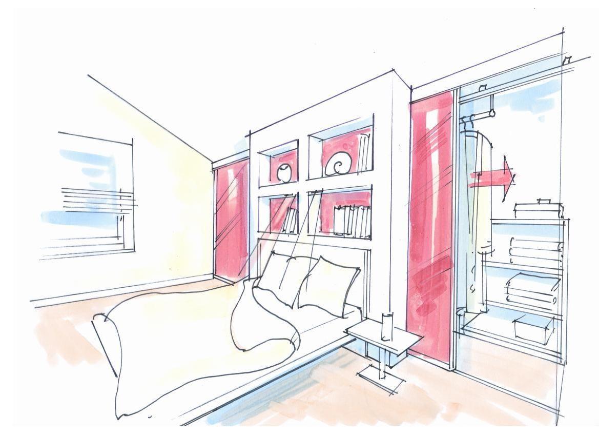 schrankraum hinter dem bett arredamento schlafzimmer. Black Bedroom Furniture Sets. Home Design Ideas