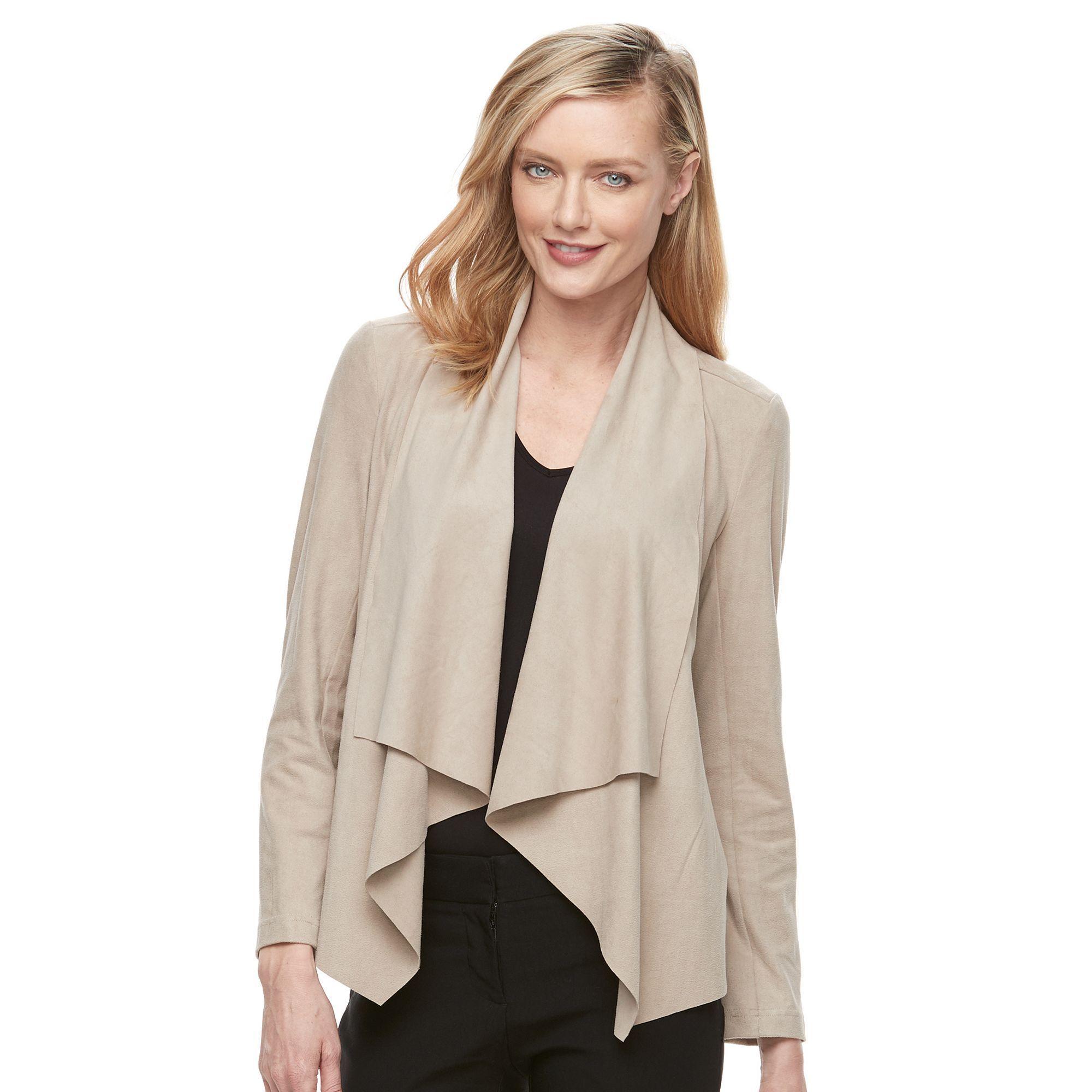 Women's Dana Buchman Faux-Suede Jacket, Size: Medium, Med Beige
