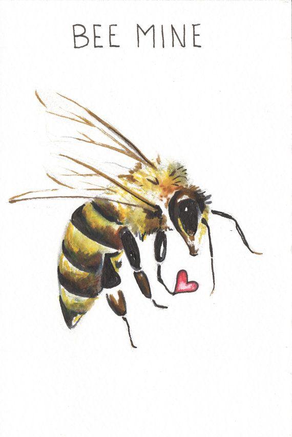 Bee Mine Original Valentin aquarelle Animal par BrightSkiesArt ...