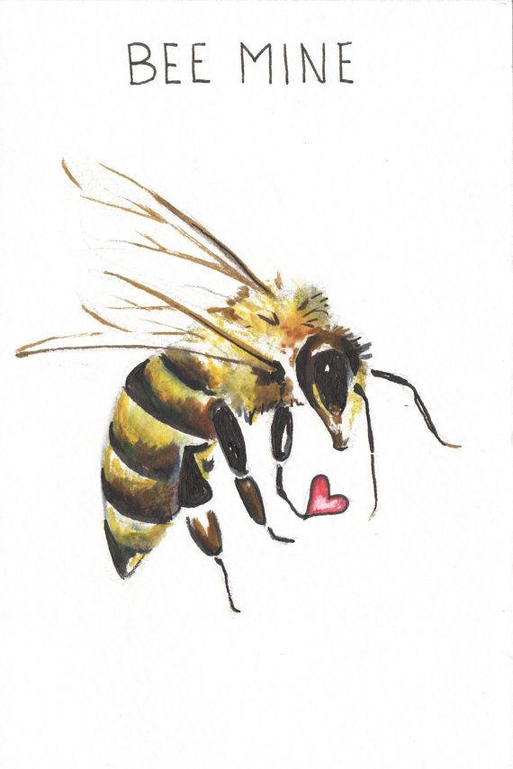 Bee Mine Original Valentin Aquarelle Animal Par Brightskiesart
